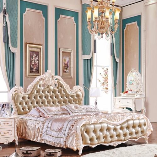 奢华卧室套房家具 欧式真皮雕花双人床 102