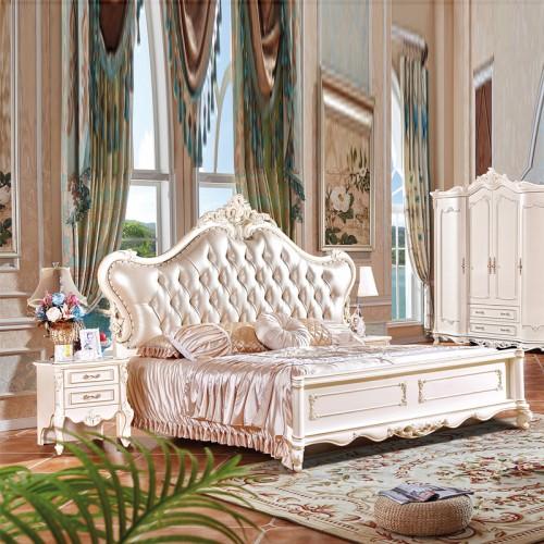 欧式实木床1.8米2米双人床雕花真皮床价格 903