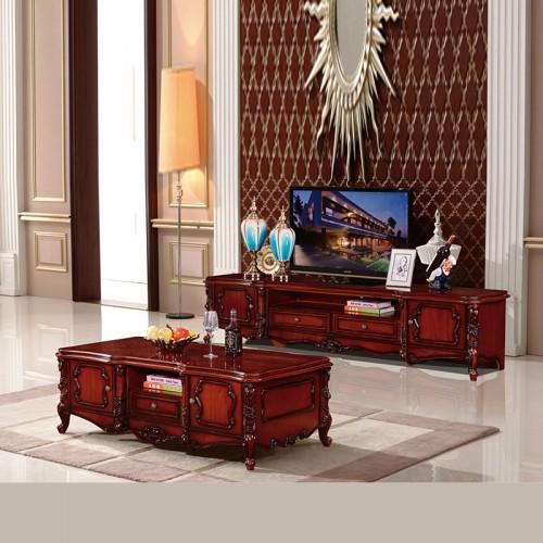 批发厂家欧式实木雕花电视柜茶几SS935