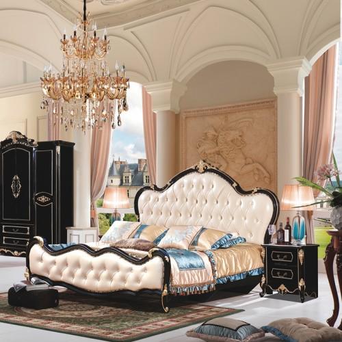 别墅奢华新古典主卧双人床1.8米婚床 916