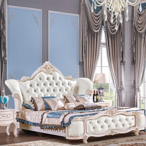 批发销售欧式奢华雕花双人床家具套装 1020
