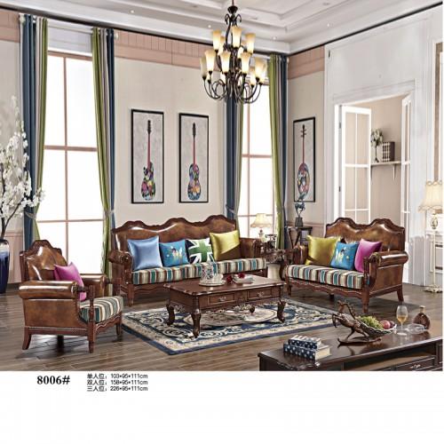美式客厅家具 美式皮布沙发生产厂家8006#