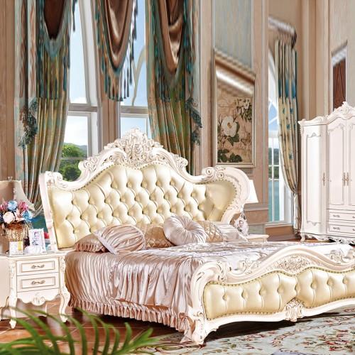 欧式实木家具生产厂家 卧室实木衣柜双人床 1038