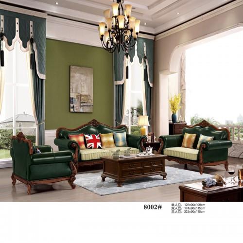 美式皮艺休闲沙发 客厅沙发1+2+3组合 8002#