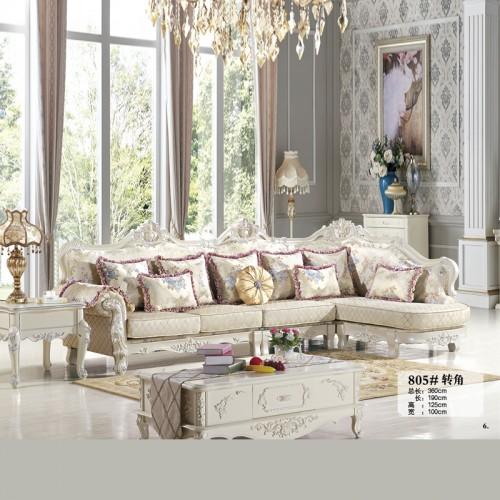 客厅家具生产批发 欧式布艺转角沙发价格 805#