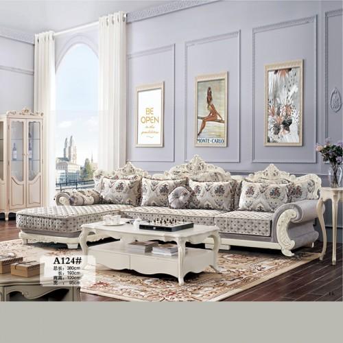 客厅家具生产厂家 欧式布艺沙发 A124#