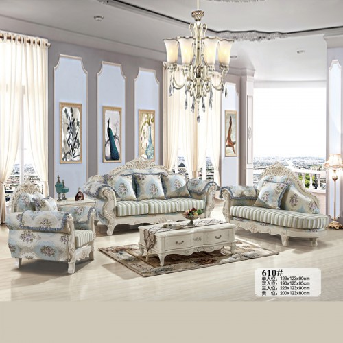 雕花时尚布艺沙发 客厅欧式沙发厂家 610#