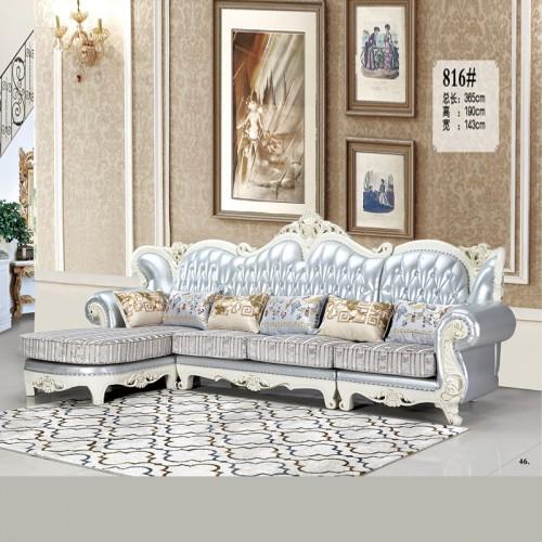 欧式转角沙发 奢华雕花客厅高档皮布沙发816#