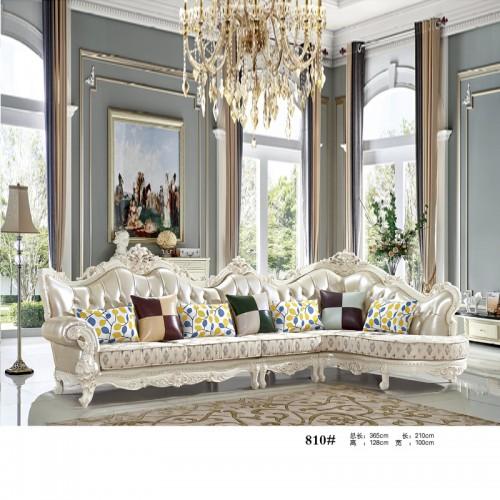 欧式转角沙发 奢华雕花客厅高档皮布L型沙发810#