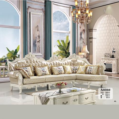 欧式沙发品牌厂家 高档转角皮布沙发A808#