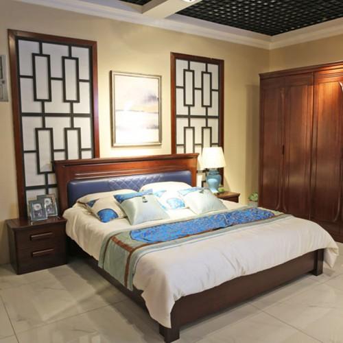 简约中式卧室实木双人床衣柜 03