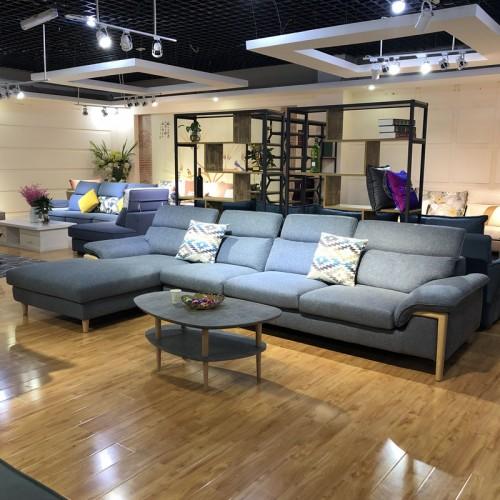 北欧现代沙发工厂 转角布艺沙发采购1015#