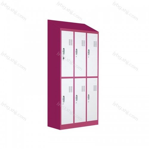 斜顶六门更衣柜储物柜生产价格JY-TS-27