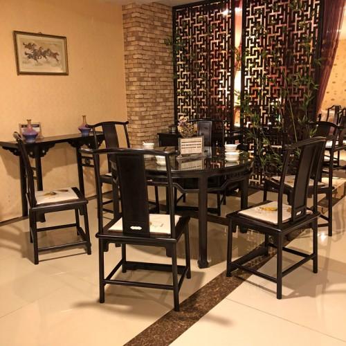 紫檀阁红木家具 新中式紫檀圆桌餐椅批发厂家03