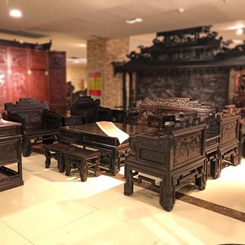 仿古雕花红木家具厂家 客厅实木沙发采购04