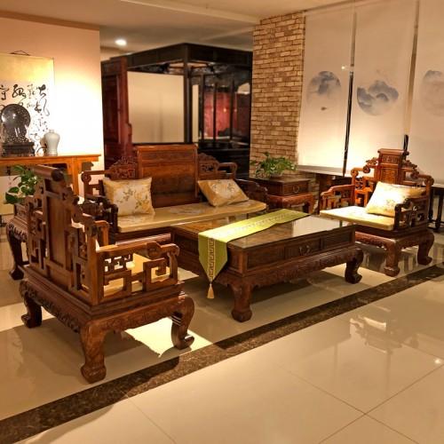 红木仿古沙发 黄花梨中式雕刻沙发 03
