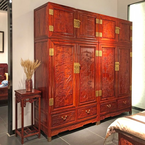 红木顶箱柜 中式实木雕花大衣柜生产厂家02