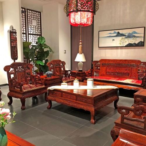 新中式红木沙发组合 明清实木沙发生产批发09