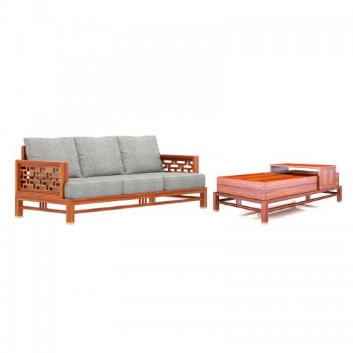 安达尔家具官网 新中式风格客厅实木架沙发 布艺坐垫 35#