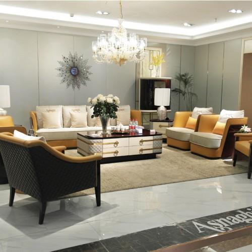 宜美居家具 现代风格轻奢客厅组合沙发 皮质休闲沙发 37#
