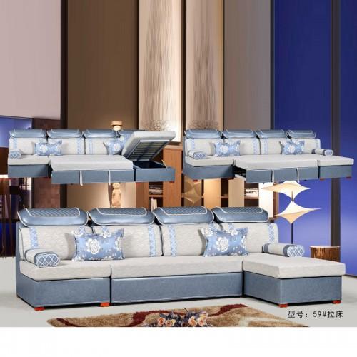 客厅休闲L型转角布艺拉床两用沙发 59#拉床
