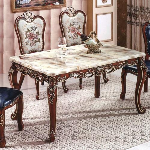 欧式大理石餐桌椅 雕花深色餐厅家具 9041#