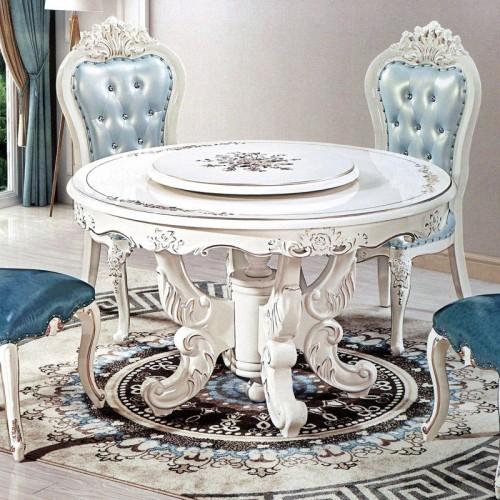 低价促销欧式实木雕花餐桌圆桌带转盘 910#