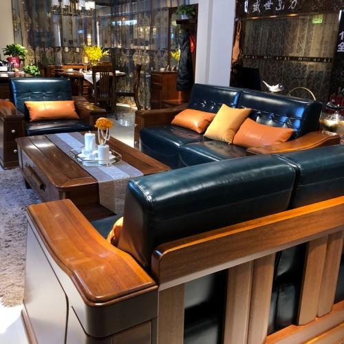 香河凯诺名典全实木套房家具 客厅实木沙发电视柜 04#