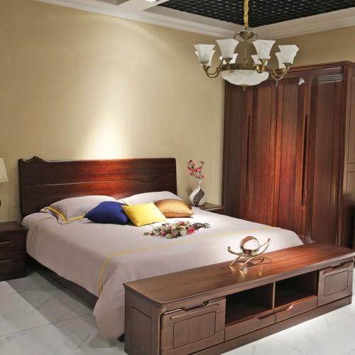 别墅卧室双人床衣柜套房 实木套房家具 01