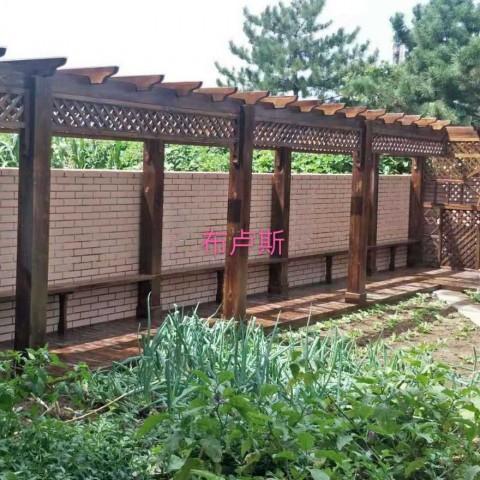 香河户外长廊走廊实木地板秋千围栏厂家小院设计定制门楼