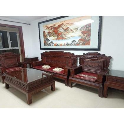 红酸枝木沙发,雕山水画清明上河图