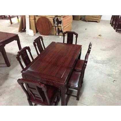 红酸枝木制造烘干处理雕刻餐桌