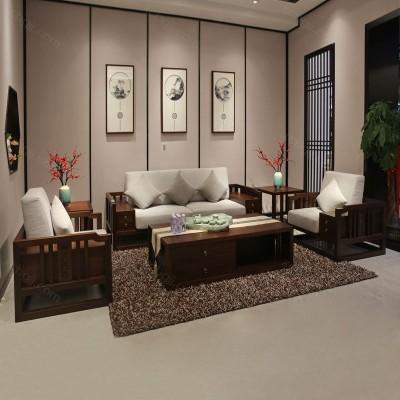 新中式实木沙发 布艺组合沙发定制规格06