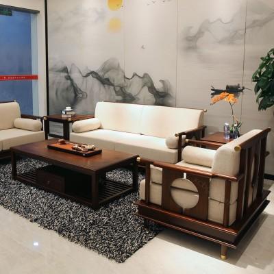 实木沙发厂家 仿古中式布艺沙发采购09
