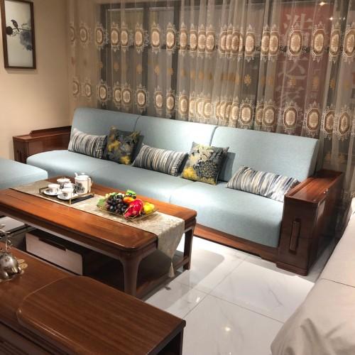 实木客厅沙发 大小户型布艺坐垫沙发 02#