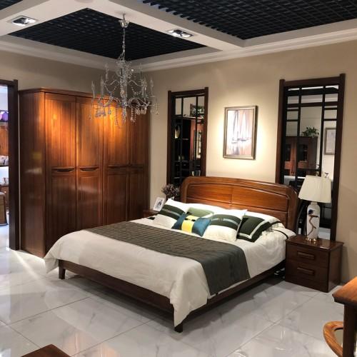 实木卧房家具 整体家装中式双人床衣柜 03#