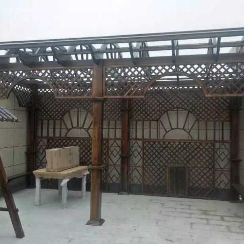 香河户外实木长廊葡萄架门楼草顶圆亭子中式围栏 (42播放)