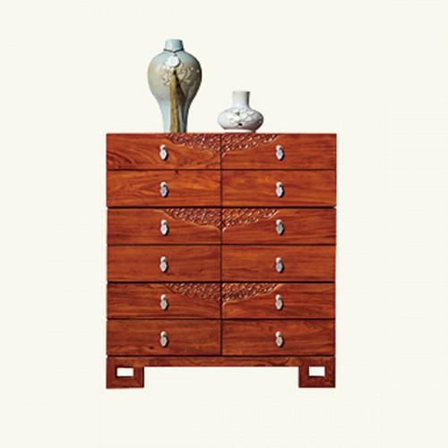 新中式实木雕花储物柜