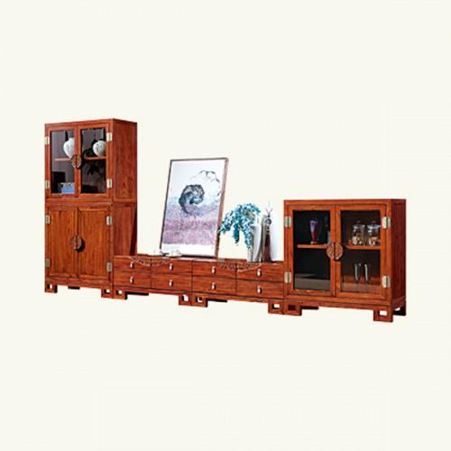 实木雕花客厅电视柜多