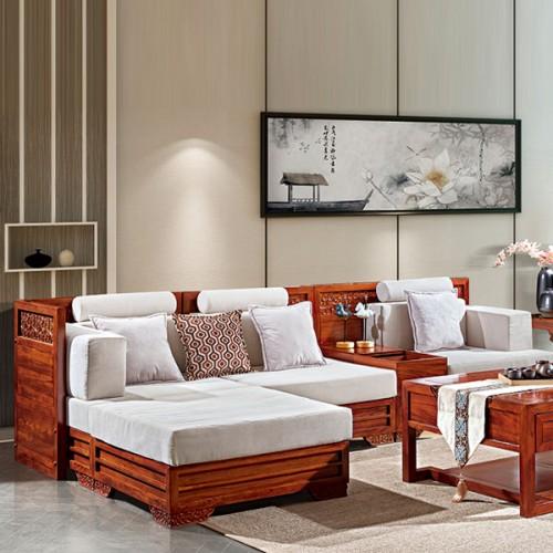 现代新中式客厅实木沙