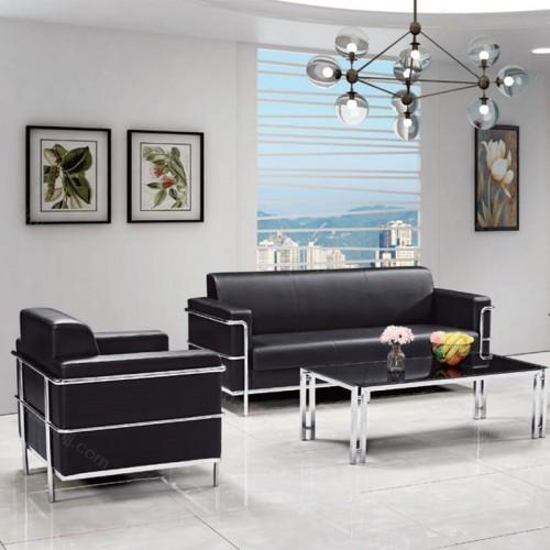 钢架休闲沙发 真皮办公沙发定制厂家708-2