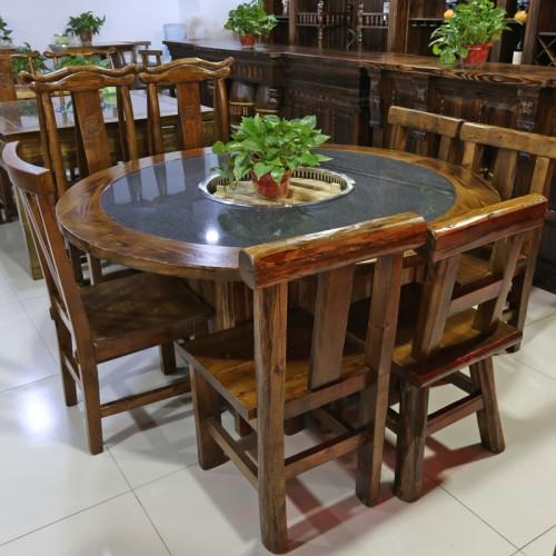餐廳實木大理石火鍋桌