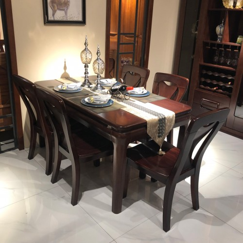 中式风格餐厅家具 家用实木材质餐桌餐椅 05#
