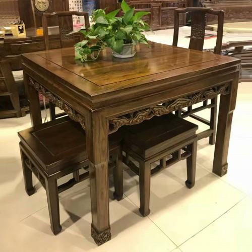 工厂直销老榆木餐桌椅
