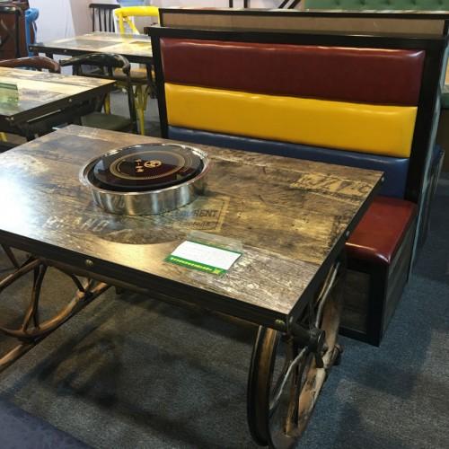 复古车轮无烟电磁炉火锅桌采购38