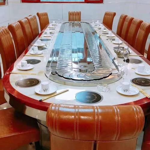 酒店椭圆转桌 圆形长餐桌火锅桌51