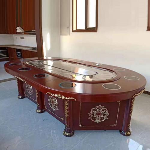 中式长方形回转传送带椭圆形火锅桌55