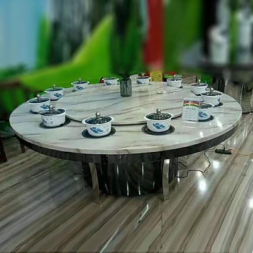 大理石火锅桌酒店圆桌电动餐桌65