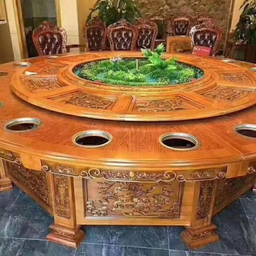 酒店电动餐桌饭店带转盘火锅桌77