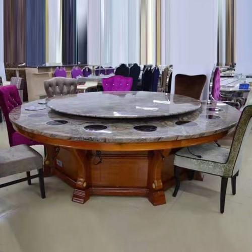 酒店自动旋转理石圆餐桌电磁炉火锅桌78
